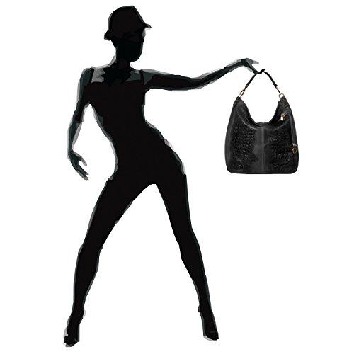 CASPAR - Sac à main en DAIM pour femme - porté à l'épaule avec impression crocrodile - plusieurs coloris - TL678 Noir