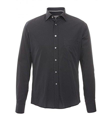 Hatico - Regular Fit - Bügelfreies Herren Langarm Hemd mit Kent Kragen in verschiedenen Farben (3209 250) Schwarz (07)
