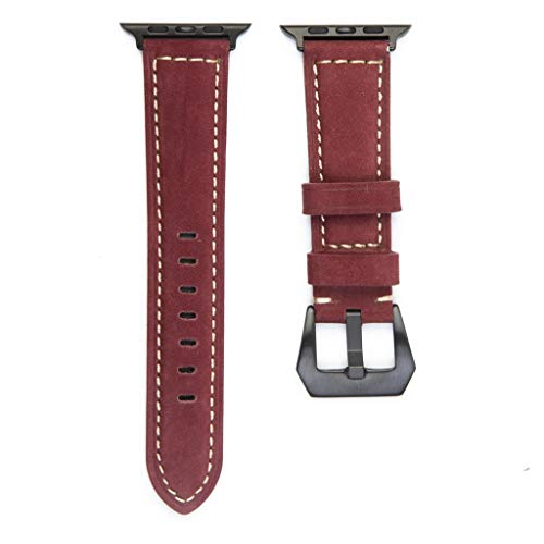 SEWORLD Ersatzarmbänder Kompatibel für Apple Watch Series 1/2/3/4 38mm/40mm/42mm/44mm,Lederband Ersatzband Uhrenarmband Fitness Armbänder Handgelenkschlaufe Wristband(A-rot)