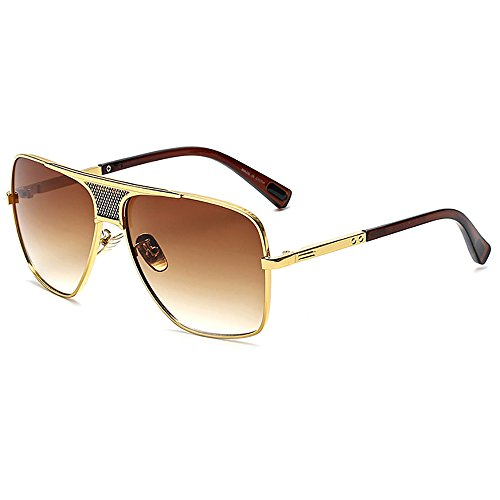 SHEEN KELLY Retro Oversized Pilotenbrille Metall Sonnenbrille UV400 Schutz Optimal Entwurf Herren und Frauen Square Aviator Sonnenbrillen Der Spiegel