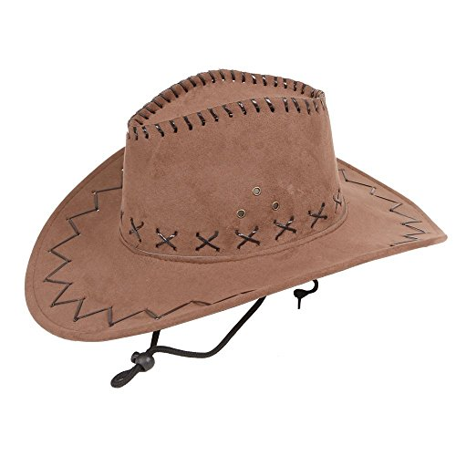 Wicked - Cappello da cowboy unisex in camoscio, nero o marrone