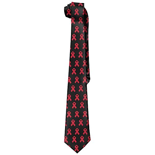 Mens Funk Cancer Ribbon Red Black Novelty Necktie Tie (Blue Ribbon Quilts)