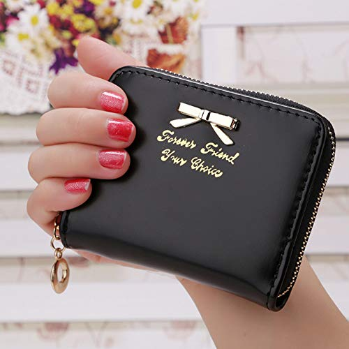 QLOH Brieftasche Candy Color Bow Tie Coin Purse for Women Item Credit Card Organizer Zipper Lady Letter Pouch Clutch Cute Concise Wallet Solid Black Bow Tie