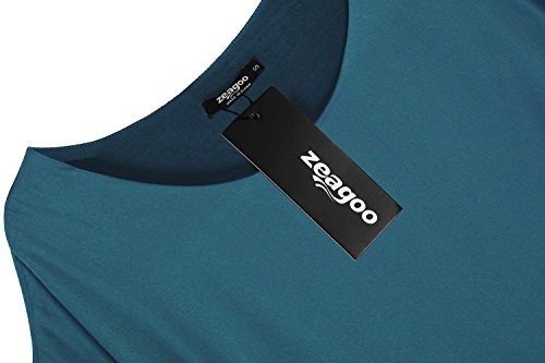 Zeagoo Damen Sommer Casual Loose Fit Kurzarm Fledermaus Batwing T-Shirt Shirt Chiffon Top Bluse Blau2