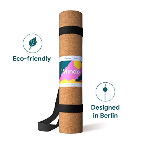 Mindo Yogamatte aus Kork - Pilates, Home Workout, Fitness-Studio Sportmatte mit Gurt - rutschfest, hervorragender Halt, Gute Dämpfung für Knie, Ellbogen und Füße - Hallen- oder Freilufttraining
