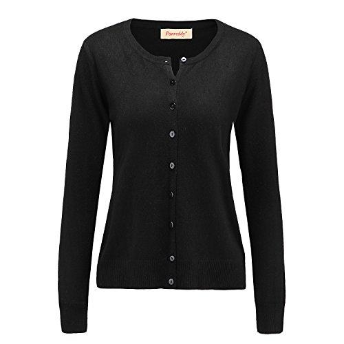 Panreddy Women's Wool Cashmere Classic Cardigan Sweater XL Black