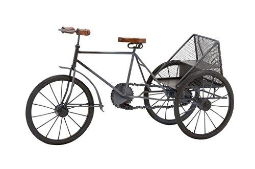 Deco 79Metall und Holz Dreirad, blau, One Size -