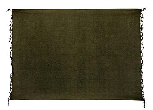 Sarong Bekleidung Pareos (Premium Sarong Pareo Wickelrock Strandtuch Lunghi Dhoti Schlicht Blickdicht Einfarbig Dunkel Grün Olive Khaki PO)