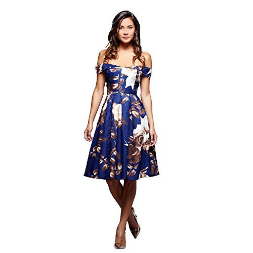 Mela Rose Print Bardot Ball Kleid, Multi, 8