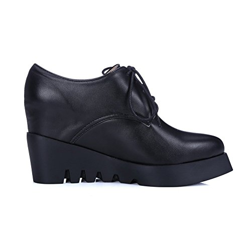 Sconosciuto 1TO9 Girls lace-up Heighten interno ed esterno in poliuretano pumps-shoes Black