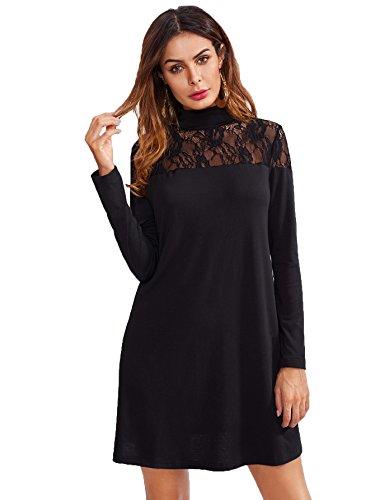 ROMWE Damen Elegant Kleid mit Spitze-Detail A-Linie Spitzenkleid Schwarz M