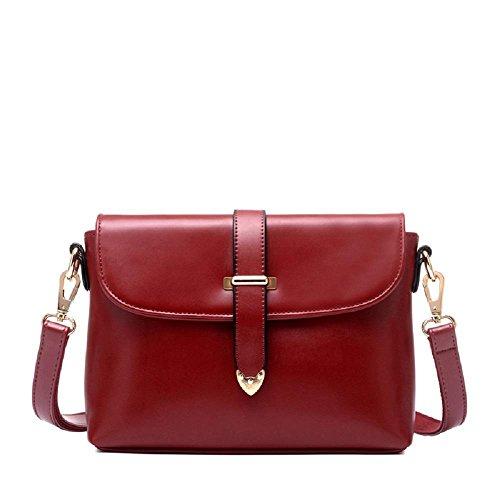 Nouvelle croix de style de cuir de femmes par le sac de messager d'épaule de corps zippé (25 * 7 * 20cm) Red