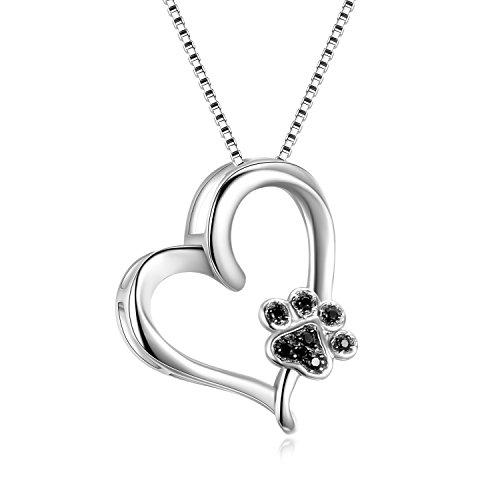 YFN Sterling Silber Pet Paw Print Herz Liebe Halskette für Frauen, Tierliebhaber mit Box-Kette (neue Pfote Herz Halskette)