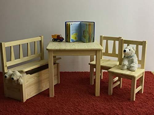 Kindersitzgruppe 1x Kindertisch 2X Kinderstuhl 1x Kindersitzbank Massivholz Natur