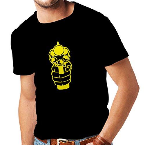 lepni.me Männer T-Shirt Ich Schieße um zu Töten! Revolverheld, Revolver, Polizeigeschenk (X-Large Schwarz Gelb)