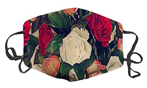 Graziose rose. maschera anti-polvere con stampa colorata e composizione floreale, con fibbia regolabile