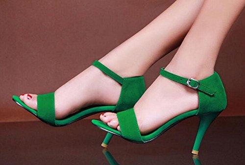 SHINIK Frauen Open Toe Knöchelriemen Pumps Sommer Einfache High Heels können angepasst werden 33-43 Green