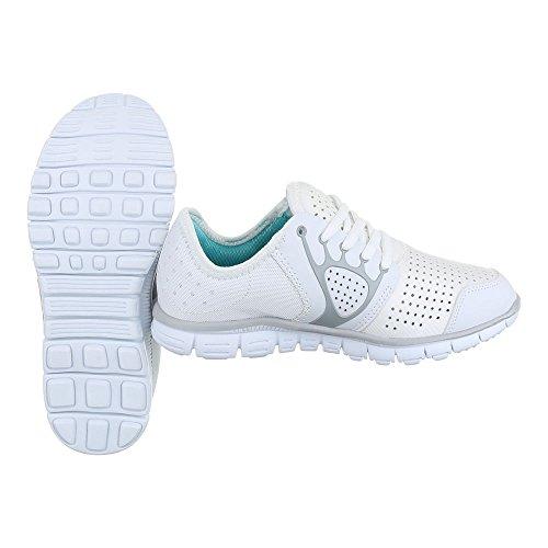Sportschuhe Damenschuhe Geschlossen Schnürer Schnürsenkel Ital-Design Freizeitschuhe Weiß