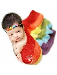 Recién nacido née Chico Niña Conjuntos Bebé Fotografía Accesorios Tejido de punto Mohair Tejer Arco iris Cobija