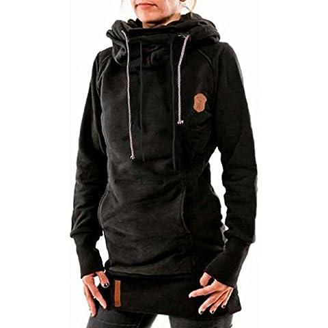 Koly_Moda Donna Equipaggiata manica lunga Pullover Maglia con cappuccio Top