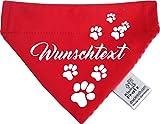 KLEINER FRATZ Hunde Durchzugstuch (Fb: Rot-Fuchsia/Rot) (Gr.M - 23 x 18 cm) mit Ihrem Wunschtext
