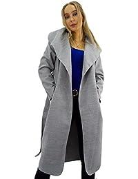 59e242d21aef7 GirlzWalk Womens Italien Drapé À Manches Longues Ceinture Mesdames Cascade  Manteau Outwear Veste Taille Unique