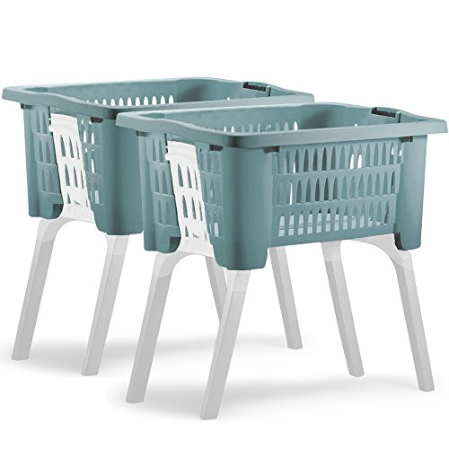 2er Set Wäschekorb mit ausklappbaren Beinen aus Kunststoff Wäschesammler Tragegriffe arbeitserleichternd 38 Liter 60x40x58cm blau