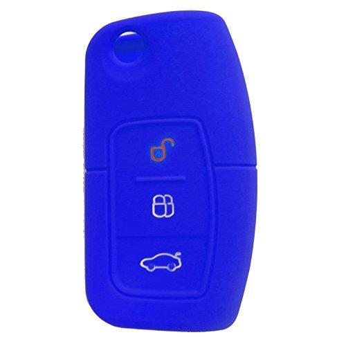 RotSale® 1x Blau Schlüsselhülle Autoschlüssel Ford Silikon Schutzhülle Tasche Gehäuse 3 Tasten Fernbedingung Klappschlüssel (Drei Line-taste)