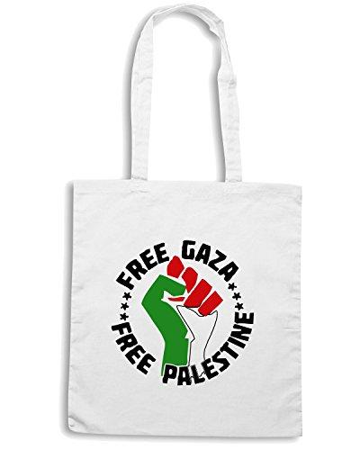 T-Shirtshock - Borsa Shopping TM0570 gaza libre libera palestina Bianco