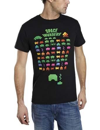 Space Invaders Men's Multi Invasion Regular Fit Short Sleeve T-Shirt, Black, Small