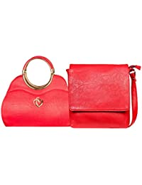 Louise Belgium Women's Hand Bag & Sling Bag Combo - Red