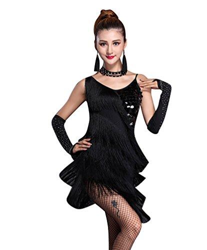 NiSeng Damen Latin Kleid Paillette Quasten Kleid Latin-Tanzkleidung Kostüme S (Kostüm Latino)