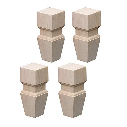 Furniture legs 4 STÜCKE Holzmöbel Füße Schwere Möbel Beine Unfinished Brötchen Füße Für Schrank Sofa TV Ständer Loveseat Kommode Holz Beine Langlebig 12 * 6 * 6cm -