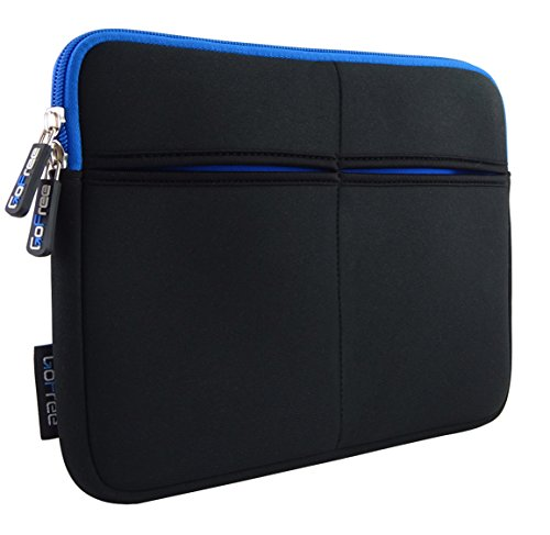 "GoFree Slim Line Tablet Sleeve for 7"", 8"" Tablets and iPad - [3 Additional Pockets, Shock Absorbent, Super Compact & Uber Stylish) Black w/ Azure Blue"