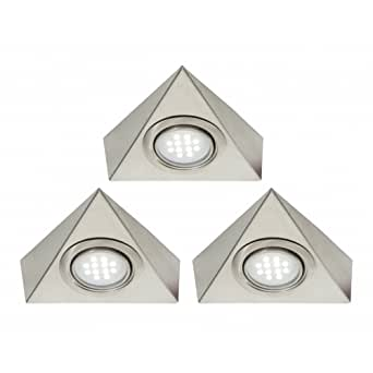 Pack Of 3 Triangle LED Under Cabinet Light Kit With Transformer - White LED