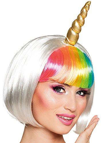 Halloweenia - Bob Regenbogen Perücke Einhorn Unicorn Kostüm Einhornkostüm Horn und Ohren Einhornperücke Perrücke, Bunt Gold