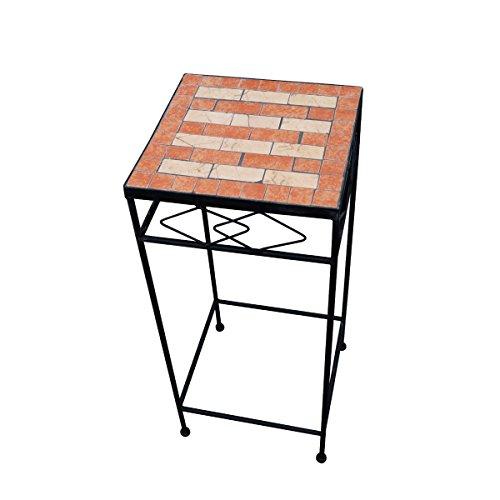PrimoLiving Metall Blumenhocker/Beistelltisch Mosaik Eckig Schwarz Gr. M (P-966)