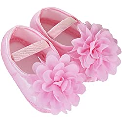 Scarpe Bimba Ragazza , feiXIANG Bambino bimbo bambina chiffon fiore elastico neonato scarpe da passeggio (12, Rosa)