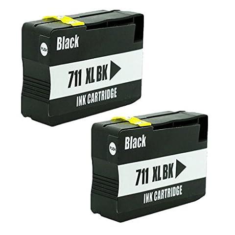 Kompatible Tintenpatronen Ersatz für HP 711XL 711 XL für HP711 für HP711XL Tintenpatronen Hohe Kapazität kompatibel für HP Designjet T120 24 T120 610/T520 24 T520 36 T520 610 Tintenpatronen für Inkjet Drucker (2 (24 Kompatible Tintenpatrone Schwarz)