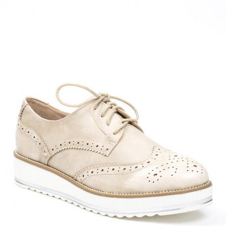Ideal Shoes - Derbies effet usé en similicuir Baya Beige