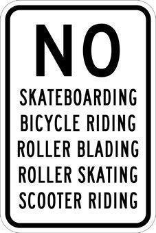 TammieLove Metallschild, Aufschrift No Skateboarding Fahrrad Reiten Roller Blading Roller Reiten Schild, 20,3 x 30,5 cm