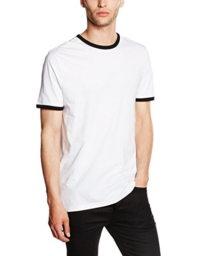 New Look Herren T-Shirt Ringer Crew Weiß (White)