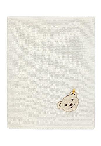 Steiff Baby-Mädchen Decke Strick Schlafsack, Weiß (Egret|White 1020), One Size (Herstellergröße: 00) -