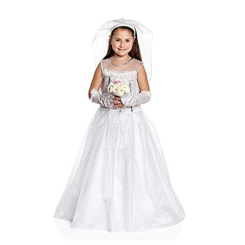 Kostümplanet Braut-Kostüm Mädchen Kinder mit Schleier Kinder-Kostüm Braut-Kleid Hochzeitskleid Karneval Größe 140