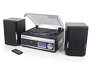 Steepletone Memphis 2 (PRO) 5-in-1 Music System - DAB & FM Radio / 3 Speed Turntable Record Player / CD Player / USB & SD MP3 Play Back / Cassette Player / Vinyl, Cassette & Radio to MP3 Encode Recording (External Antenna Socket) – Remote Control - 10 watt PMPO (Silver (Black with Silver Front) BWS)
