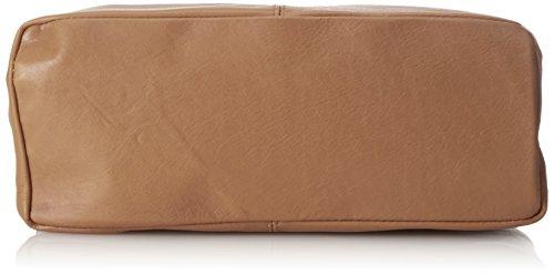 CTM Frau Umhängetasche mit Reißverschlusstasche in der Hand, 41x55x12cm, echtes Leder 100% Made in Italy Grau (Fango)