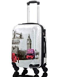 Trolley da cabina 50 cm - Valigia 4 Ruote Rigido in ABS Policarbonato - Compatibile per voli come Rayanair & Easyjet - Fantasia London View (London View-G 50 cm)