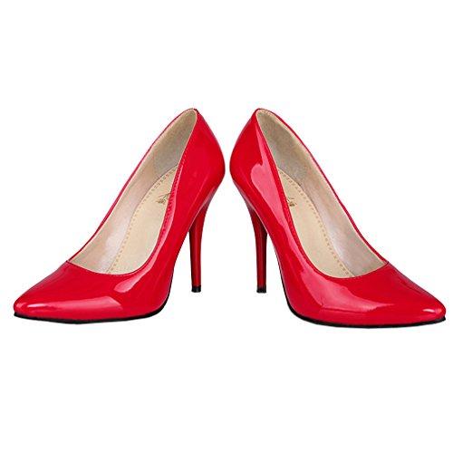 ENMAYER Femmes Cuir verni Romantique Sexy à talons hauts Escarpins Rouge