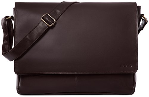 LEABAGS Oxford Umhängetasche Leder Laptoptasche 15 Zoll aus echtem Büffel-Leder im Vintage Look, (LxBxH): ca. 38x10x31 cm - Choco