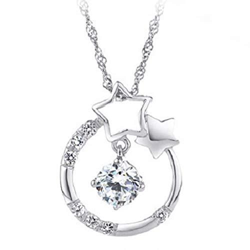 Lialbert Silber Halskette Lang,Damen AnhäNger-Hohle Kette Modeschmuck SchöNe Schlichte Moderner Schmuck (Silber)